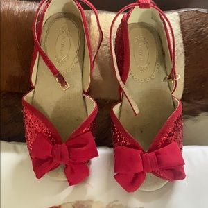Joyfolie red glitter dress shoes with bows